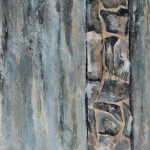 """""""River Wall with Rock Column"""" 48""""h x 24""""w Acrylic paint with texture on canvas 2018 $850"""